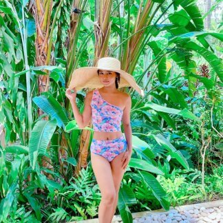 Pink Flower Paint Bikini
